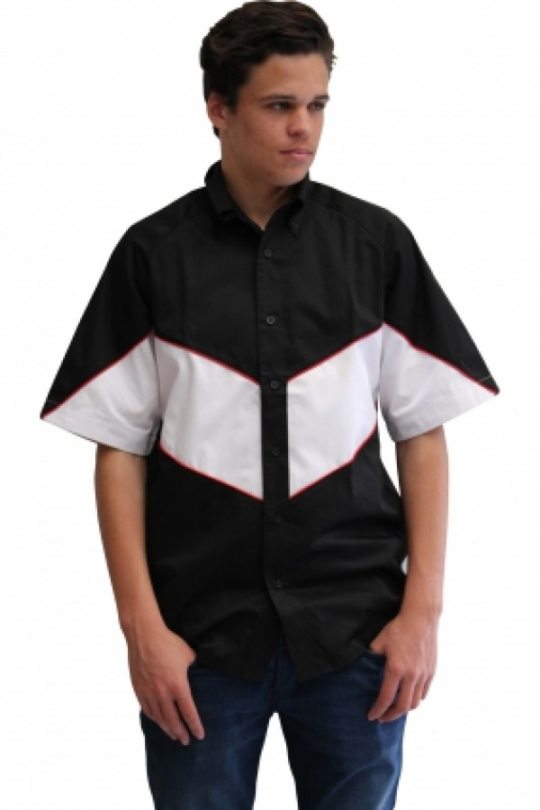 VICTORY PIT CREW SHIRT -BLACK/WHITE (RED PIPING)