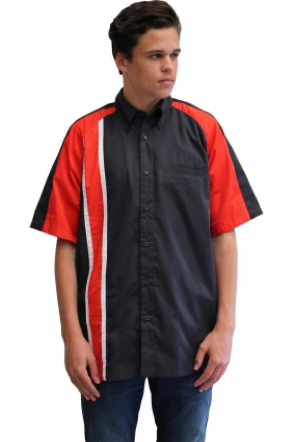 RACE GT STRIPE PIT CREW SHIRT -CHARCOAL/RED