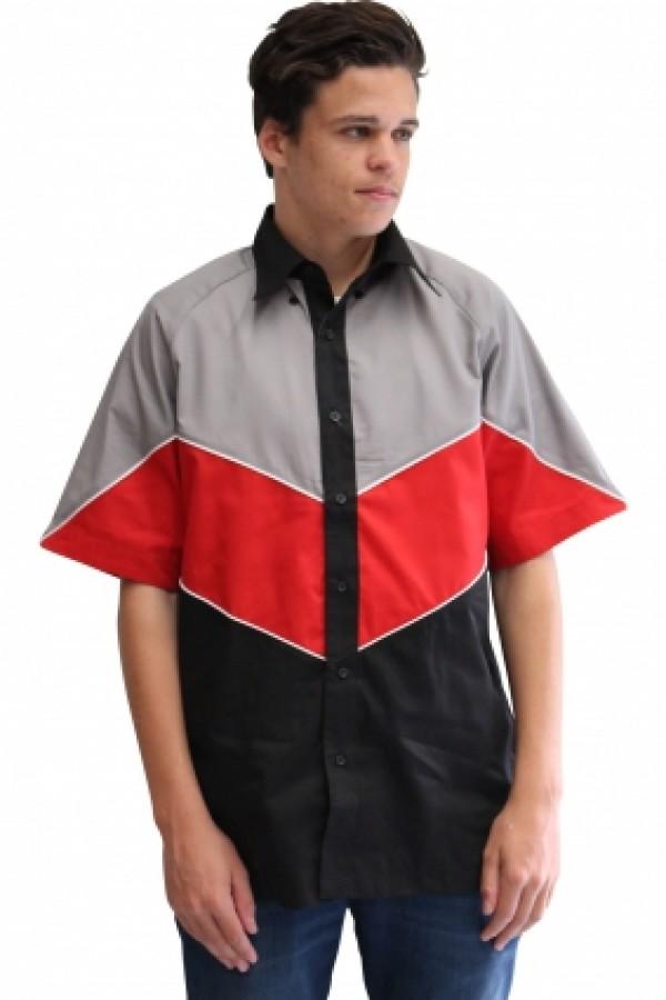 VICTORY PIT CREW SHIRT -BLACK/GREY/RED