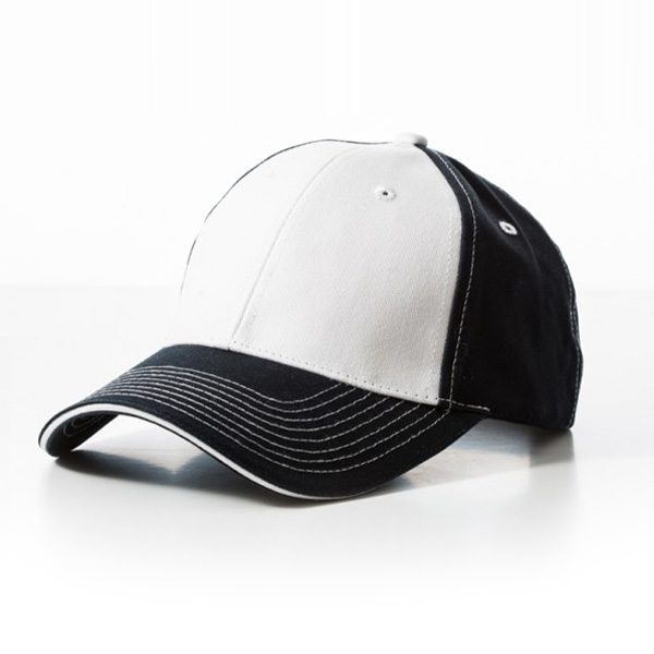 Contrast Stitch Navy White Cap