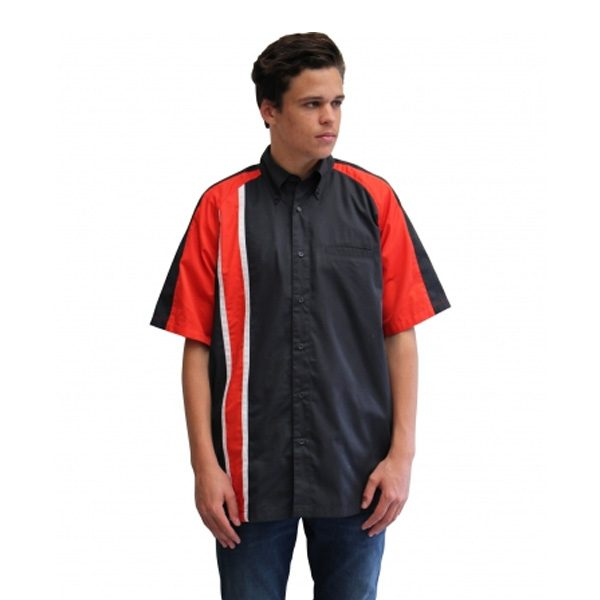 RACE GT STRIPE PIT CREW SHIRT – CHARCOAL/RED