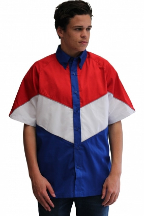 VICTORY PIT CREW SHIRT -ROYAL/RED/WHITE