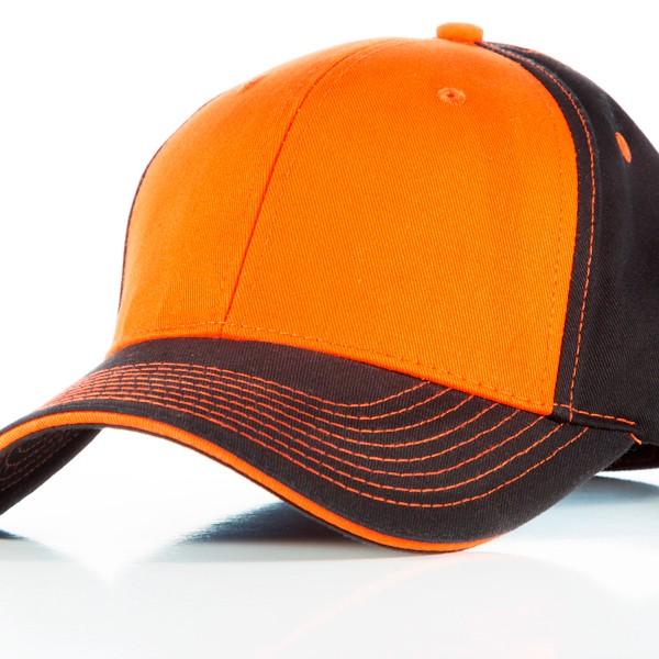 Contrast Stitch Cap Black Orange