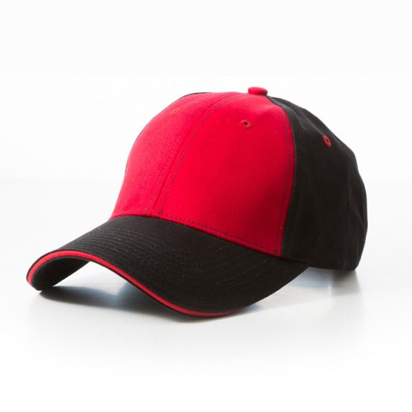 Contrast Stitch Black Red Cotton Caps