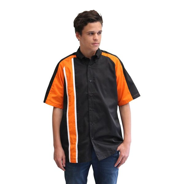 RACE GT STRIPE PIT CREW SHIRT – BLACK/ORANGE