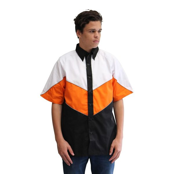 VICTORY PIT CREW SHIRT – BLACK/WHITE/ORANGE