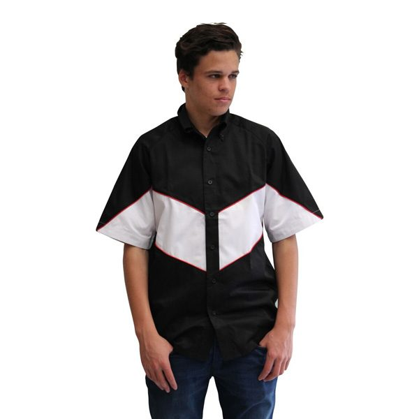 VICTORY PIT CREW SHIRT – BLACK/WHITE (RED PIPING)