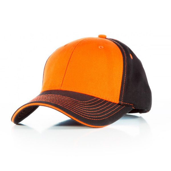 Contrast Stitch Cap Black Orange