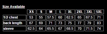 Boostup - Pit Crew Shirt Size Chart