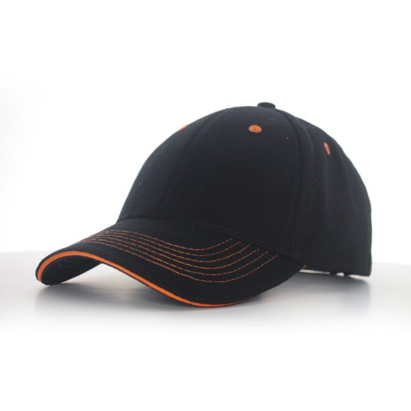 Contrast Stitch Cap Black/Orange