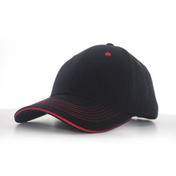 Contrast Stitch Cap Black/Red