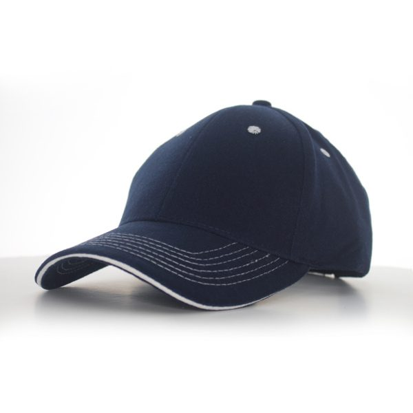 Contrast Stitch Cap Navy/White