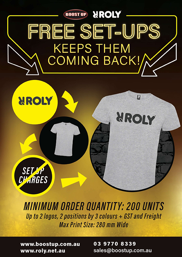 Boostup - What's New - Free Set ups Roly Shirt